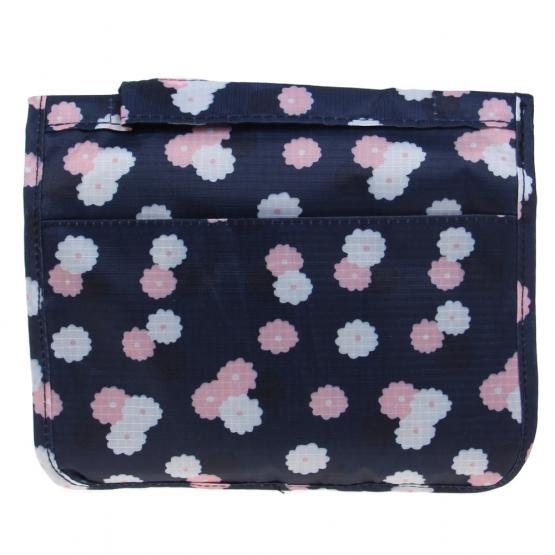Kozmetická taška závesná modrá s kvietkami
