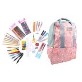 Batoh růžový s plameňáky s náplní školních potřeb