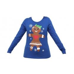 Dámské tričko vánoční modrével.M