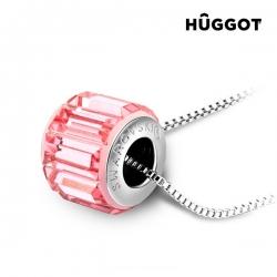 Přívěsek potažený rhodiem Pink Wheel Hûggot vyrobený s křišťály Swarovski® 45 cm
