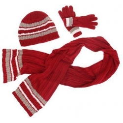 Dětská pletená šála, rukavice a čepice červená M