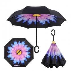 Deštník s opačným otevíráním fialový květ