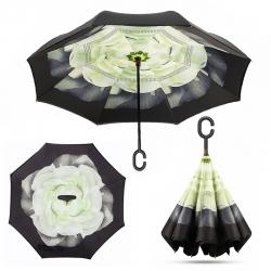 Deštník s opačným otevíráním zelený květ