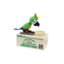 Papouškova pokladnička na drobné mince