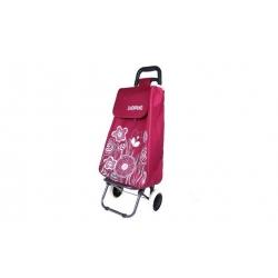 Nákupní taška na kolečkách s kytičkami - Vínová