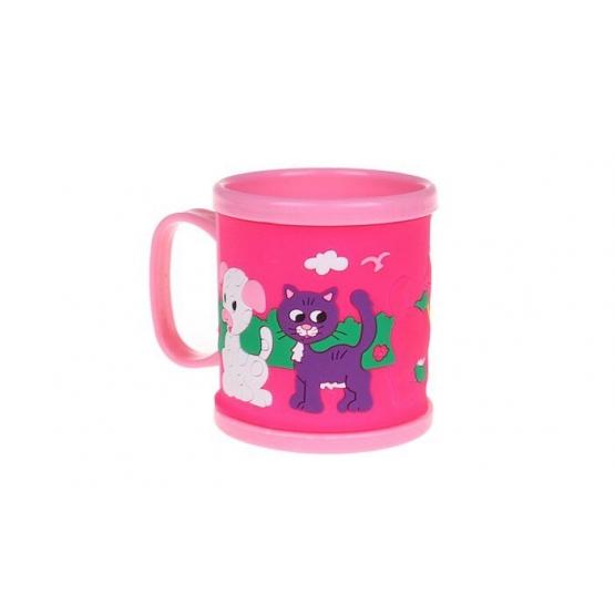 Hrnek dětský plastový (růžový s pejskem a kočičkou)