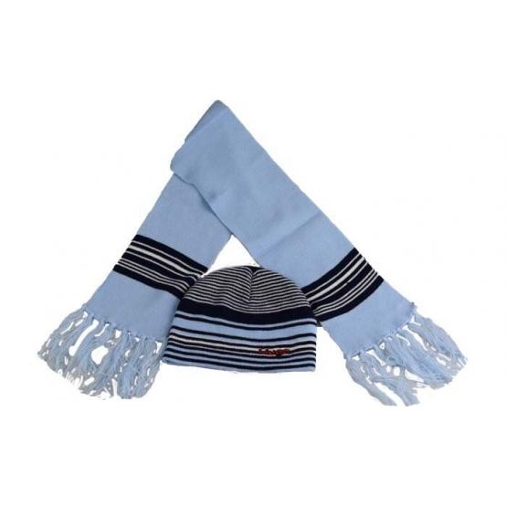 Čepice dětská zimní s šálou modrá
