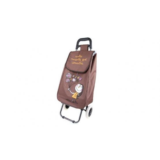 Nákupní taška na kolečkách s holčičkou - Hnědá