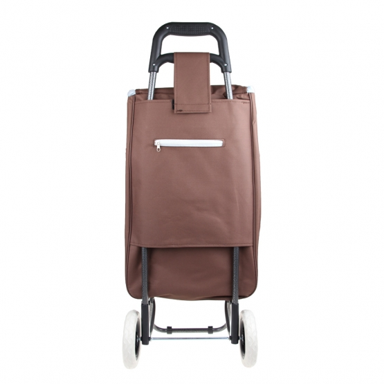 Nákupná taška na kolieskach s dievčatkom - Hnedá