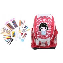 Batoh holčička s náplní školních potřeb