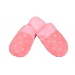 Pantofle zateplené růžové s vločkami 36/37