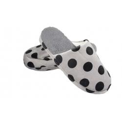 Pantofle zateplené šedé s puntíky vel.44/45
