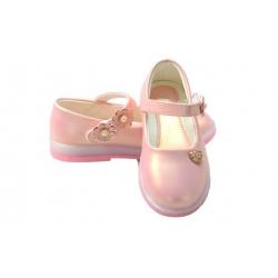 Dětské baleríny blikající růžové s kytičkami vel.23