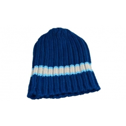 Dětská čepice pletená modrá s bílým pruhem