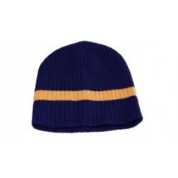 Dětská čepice pletená modrá s hnědým pruhem