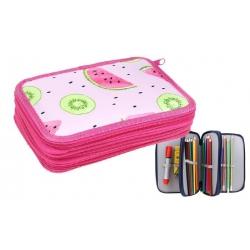Penál 3patrový růžový meloun + školní potřeby