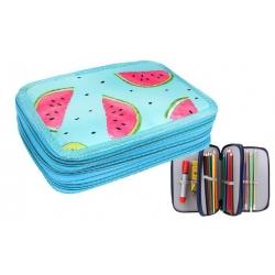 Penál 3patrový sv. modrý meloun + školní potřeby