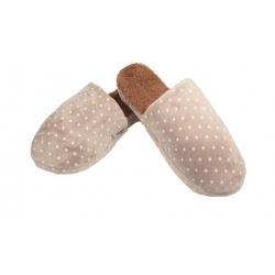 Pantofle zateplené hnědé s hvězdičkami vel.42/43