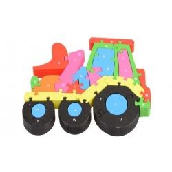 Vzdělávací dřevěné puzzle traktor
