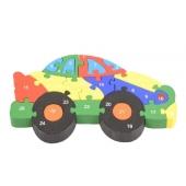 Vzdělávací dřevěné puzzle auto