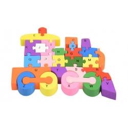 Vzdělávací dřevěné puzzle vlak