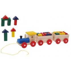 Dřevěný vlak s kostkami