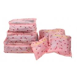 Cestovní organizér do kufru 6ks růžový s třešněmi