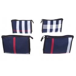 Kosmetická taška s geometrickým vzorem modrá