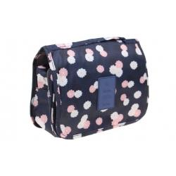Kosmetická taška závěsná modrá s kytičkami