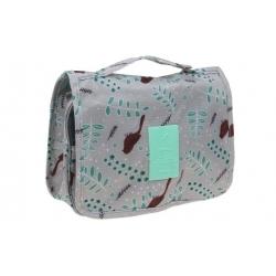 Kosmetická taška závěsná šedá s ptáčkem