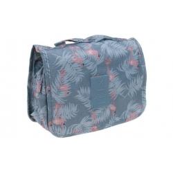 Kosmetická taška závěsná šedá s plameňáky