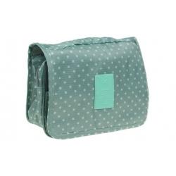 Kosmetická taška závěsná zelená s puntíky