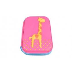 Penál 1patrový žirafa růžová