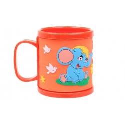 Hrnek dětský plastový (oranžový se slonem)