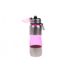 Láhev na pití s plastovým poutkem růžová