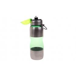Láhev na pití s plastovým poutkem zelená