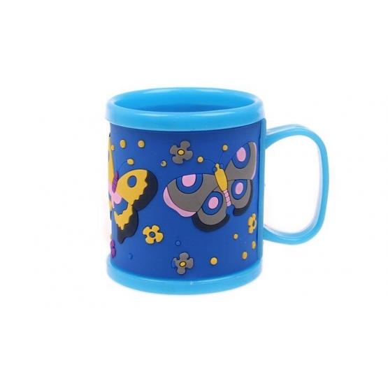 Hrnek dětský plastový (modrý s motýli)
