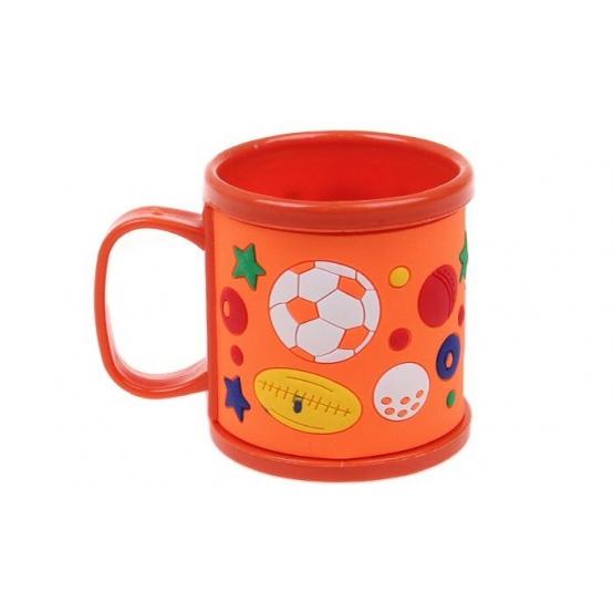 Hrnek dětský plastový (oranžový s míči)