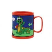 Hrnek dětský plastový (oranžový s krokodýlem)