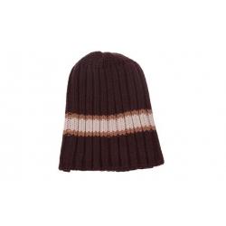 Čepice zimní hnědá s bílo-hnědým pruhem