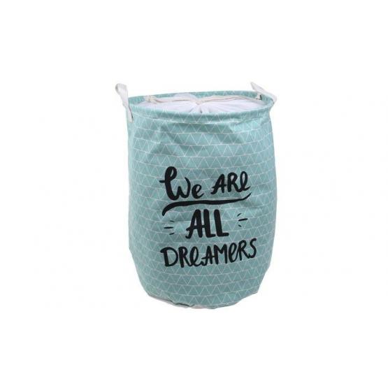 Koš na prádlo tyrkysový s nápisem