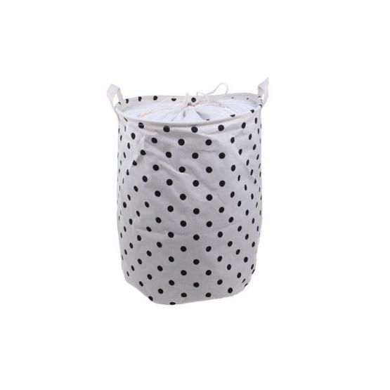 Koš na prádlo bílý s puntíky