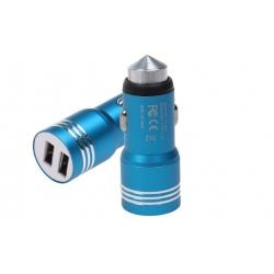 USB nabíječka do auta modrá
