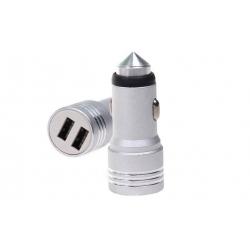 USB nabíječka do auta stříbrná