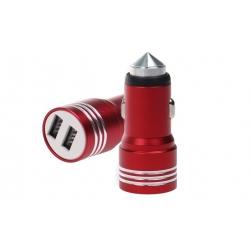 USB nabíječka do auta červená