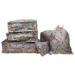 Cestovní organizér do kufru 6ks šedý s citróny