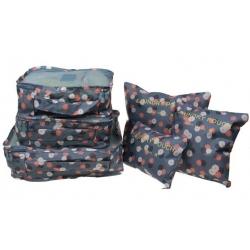 Cestovní organizér do kufru 6ks šedý s kytičkami