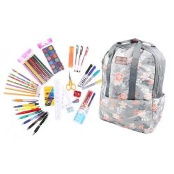 Batoh šedý s květy s náplní školních potřeb