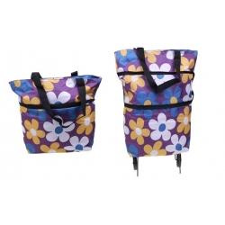 Nákupní taška s kolečky fialová s květy