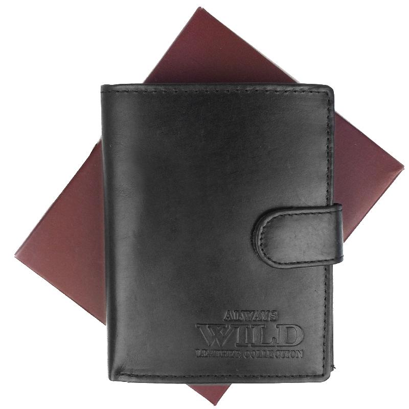 Always Wild Pánská kožená peněženka série D1072L-MHU, Černá